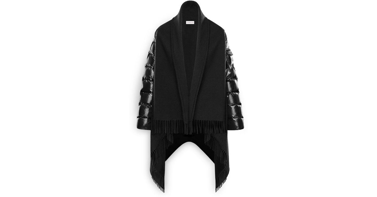 53ea37b68 Lyst - Moncler Mixed Media Down Cape in Black