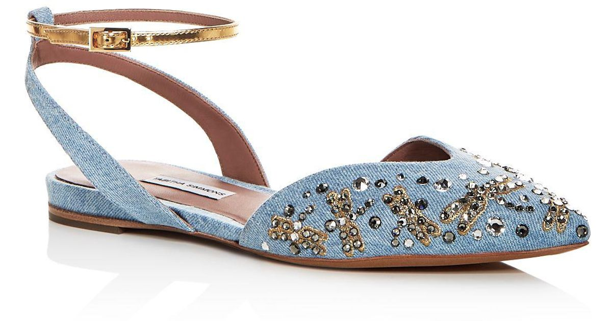 Tabitha Simmons Women's Vera Fly Spark Embellished Denim Ankle Strap Flats TXZMMPT
