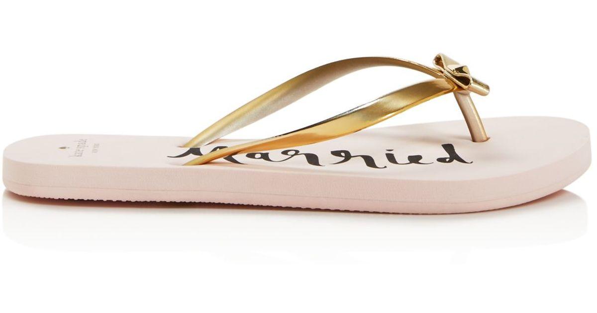 kate spade nadine just married flip flops in pink gold. Black Bedroom Furniture Sets. Home Design Ideas