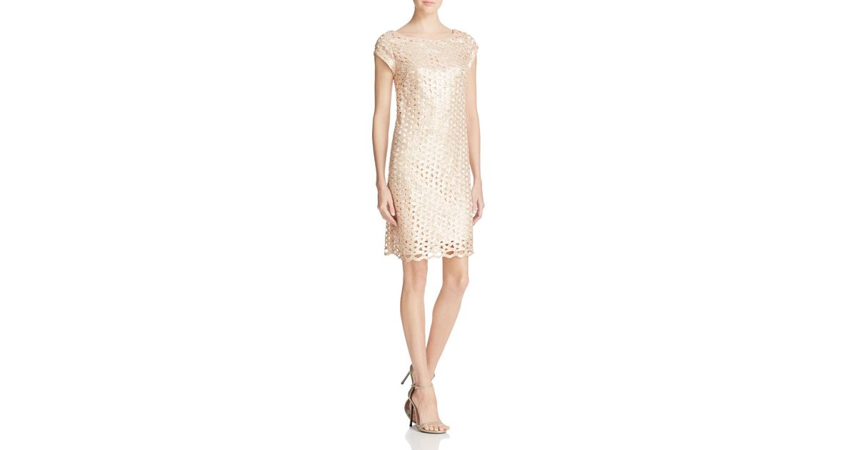 311e24f4645b Laundry by Shelli Segal Sequined Lattice Shift Dress in Natural - Lyst