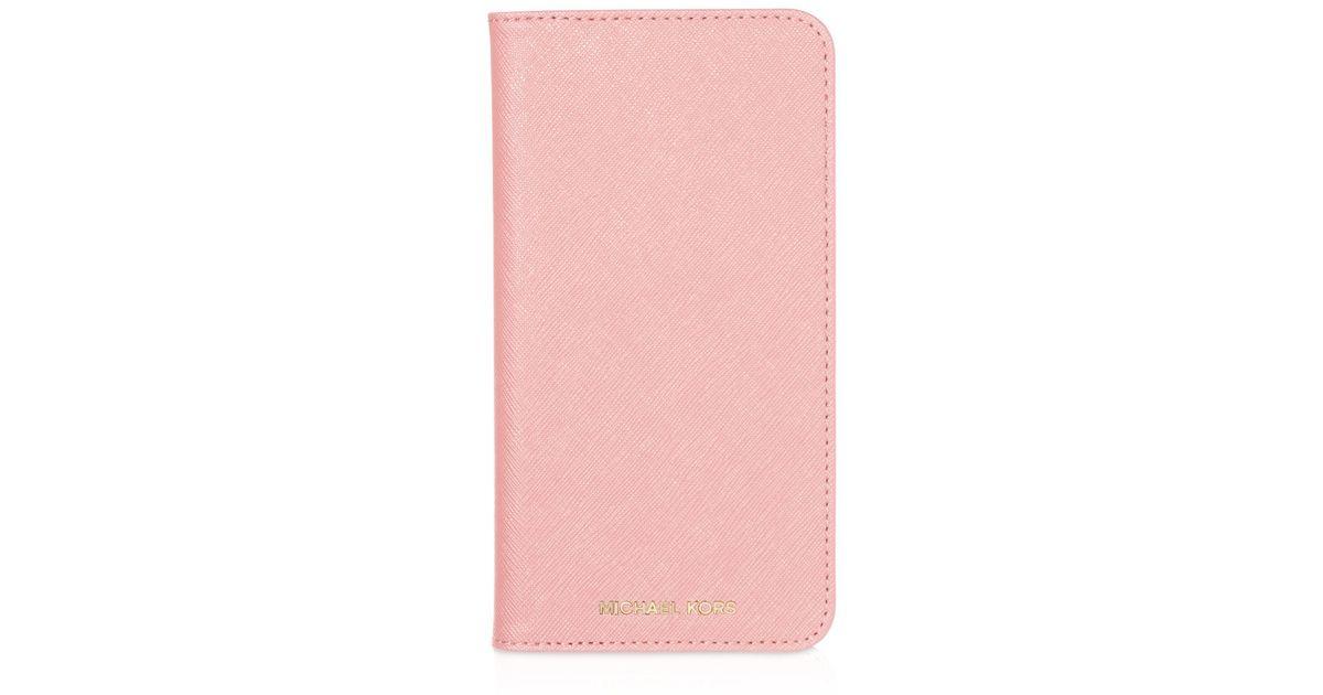 Michael michael kors folio iphone 6 plus case in pink lyst for Housse iphone 6 michael kors