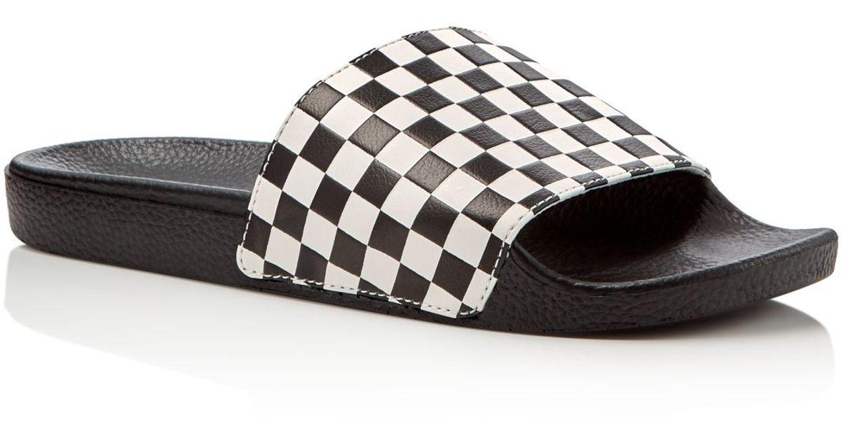 Vans Signature Checkerboard Embossed Slide Sandals in ...