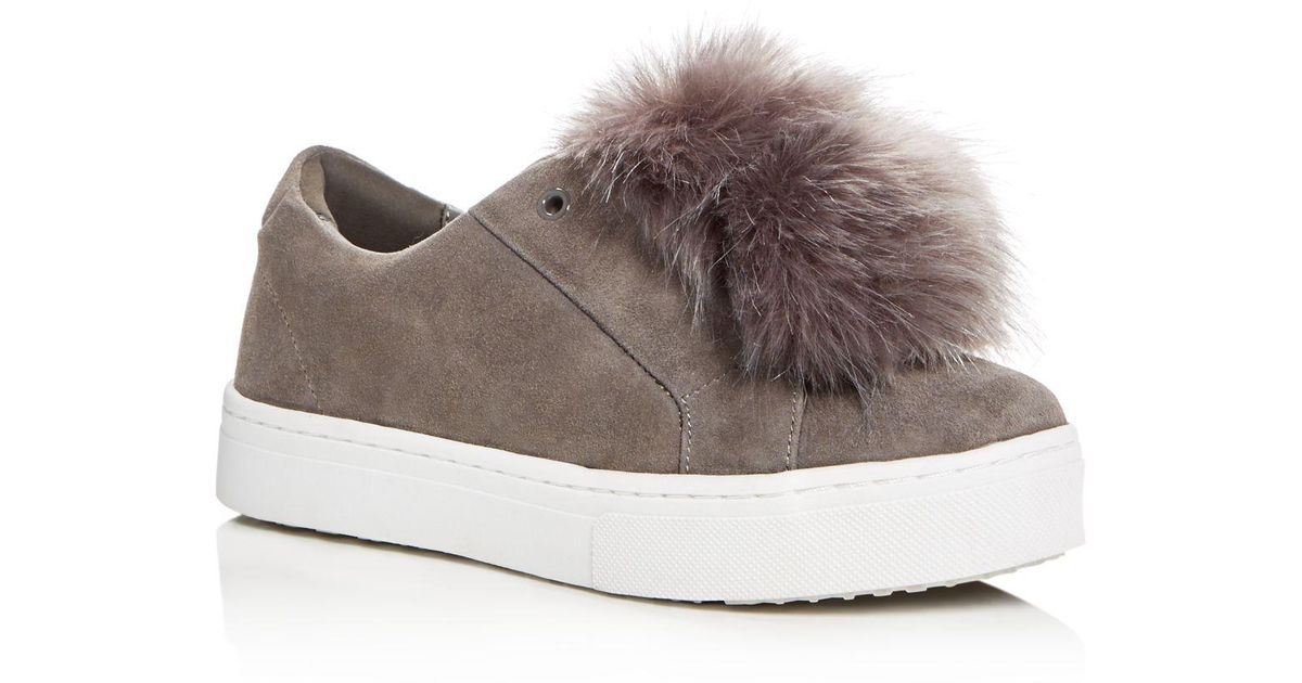 ea3bef66c206f Sam Edelman - Gray Leya Faux Fur Pom-pom Slip-on Sneakers - Lyst