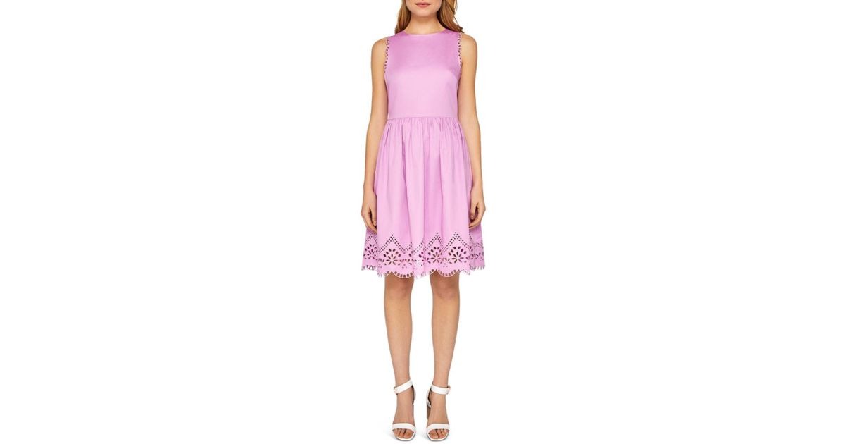 4ad2ffdbb2ca5d Lyst - Ted Baker Cottoned On Pipsa Embroidered Skater Dress in Pink