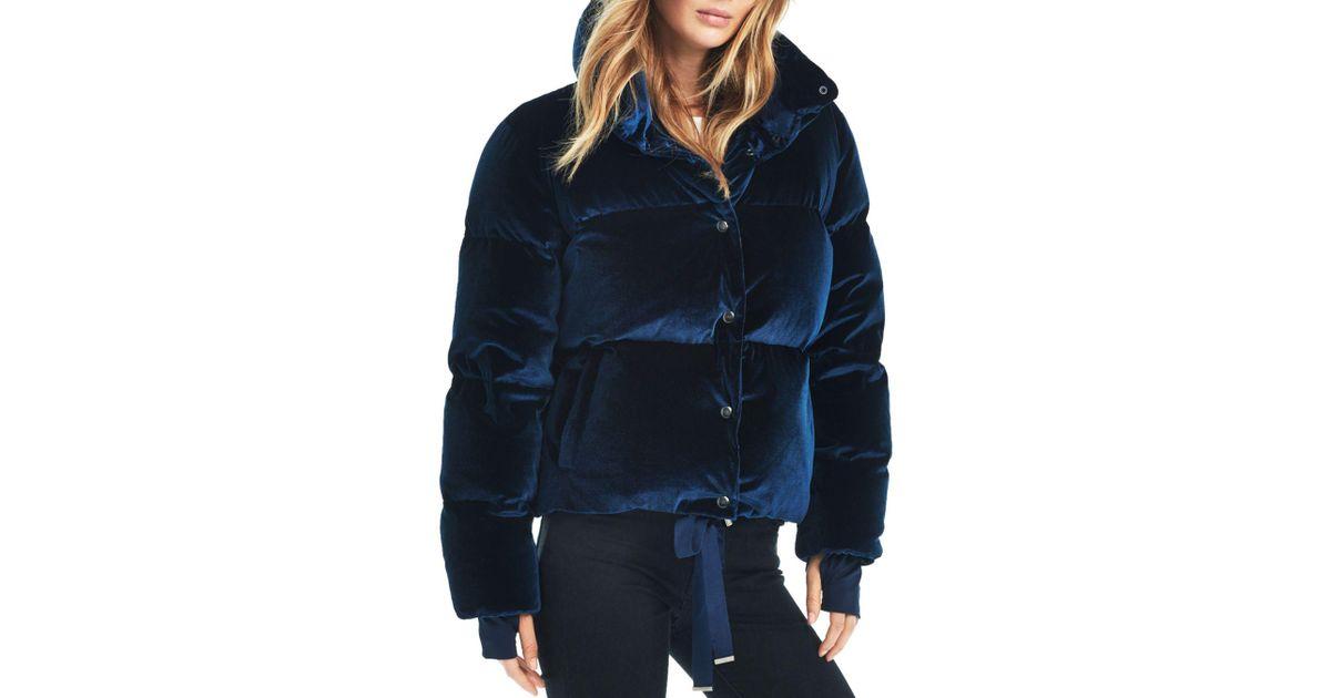 5159a48dd6f08 Sam. Sophia Velvet Puffer Coat in Blue - Lyst