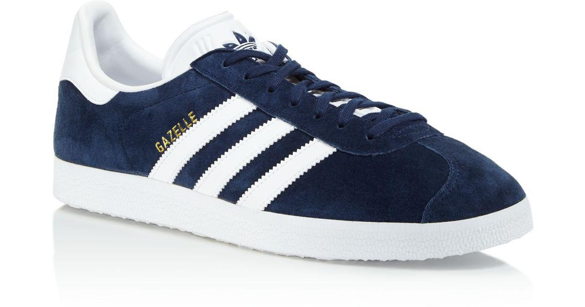749cc5cbab81 Lyst - Adidas Originals Men s Gazelle Lace Up Sneakers in Blue for Men