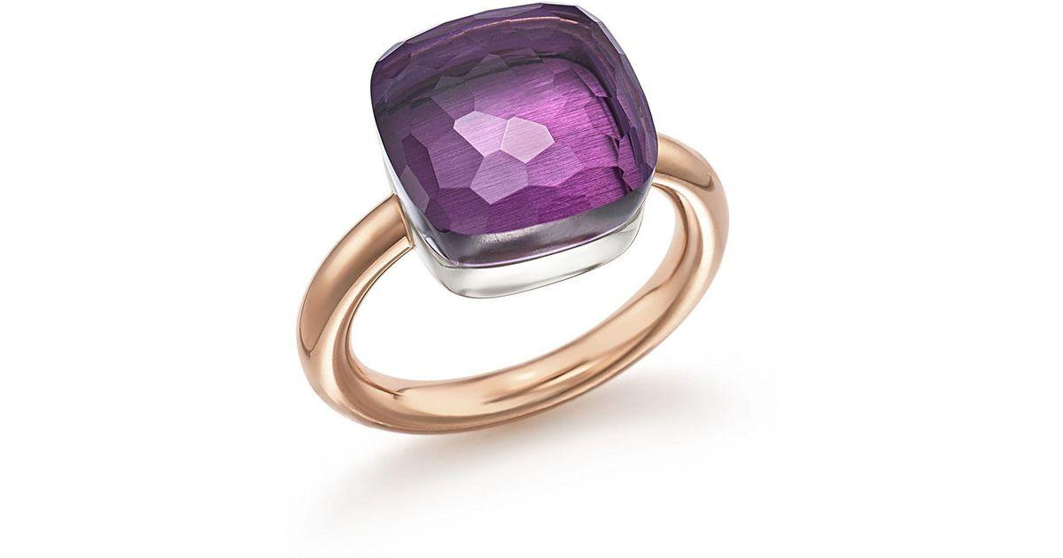 POMELLATO Nudo 18k Rose Gold & Amethyst Mini Ring m32GO