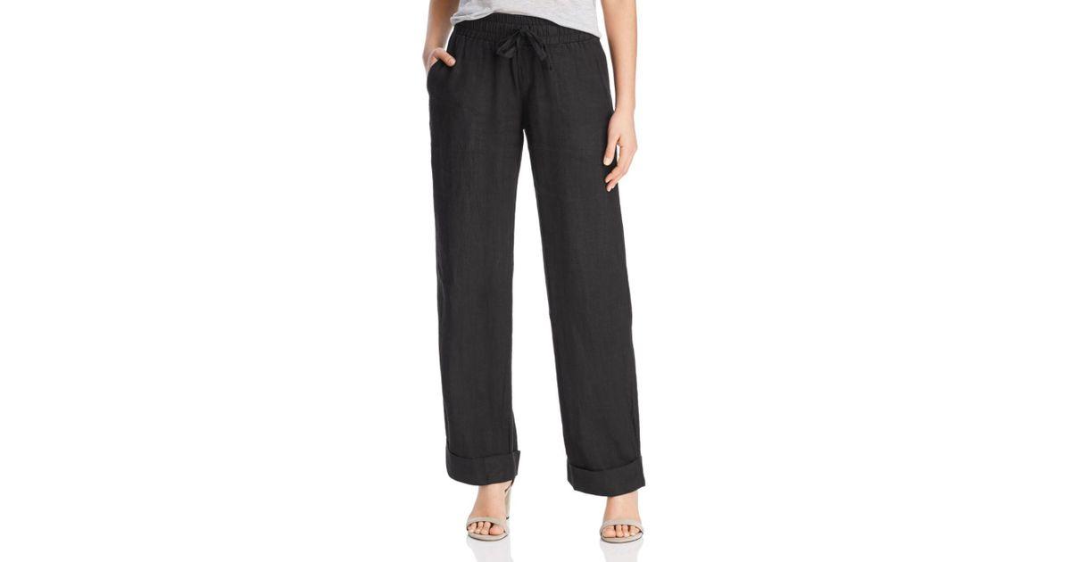523f91a616 Lyst - Three Dots Linen Beach Pants in Black