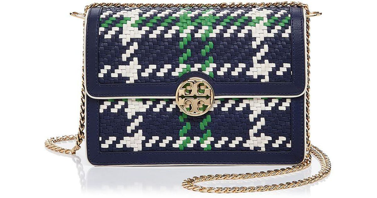 7f7a2593de6 Lyst - Tory Burch Duet Chain Convertible Woven Leather Shoulder Bag in Blue