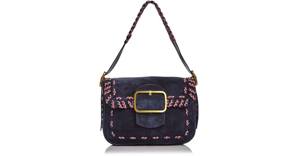 070add440c73 Lyst - Tory Burch Sawyer Stitch Suede Shoulder Bag in Blue
