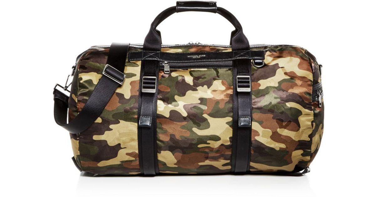 5ff7f9b2d11af Michael Kors Kent Camo-print Nylon Convertible Duffel Bag in Green for Men  - Lyst