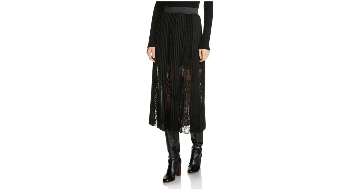 high fashion good selling Super discount Maje - Black Jerky Lace-overlay Pleated Midi Skirt - Lyst
