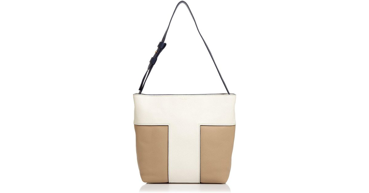 773905e10690 Lyst - Tory Burch Color-blocked Pebbled Leather Hobo