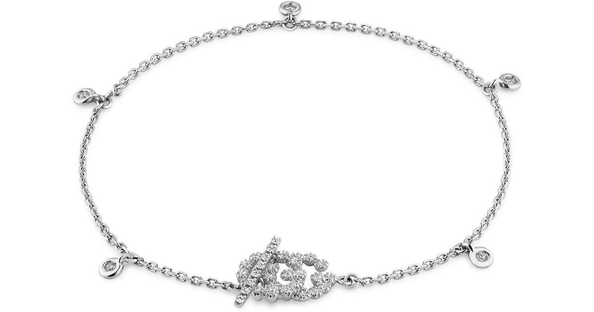 ee2a076d4 Lyst - Gucci 18k White Gold Gg Running Chain Diamond Bracelet in White