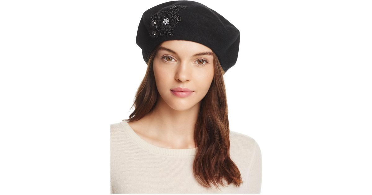 b75b26cf1 August Hat Company Melton Appliqué Beret in Black - Lyst