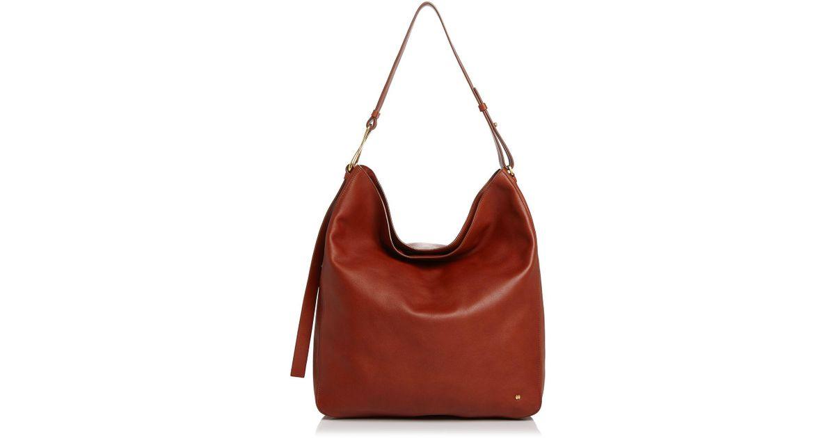 d73ef100d40f Lyst - Halston Elsa Large Leather Shoulder Bag