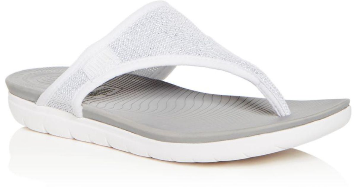 e85fbbf5d4c65b Lyst - Fitflop Uberknit Toe-thong Sandal in White - Save 57%