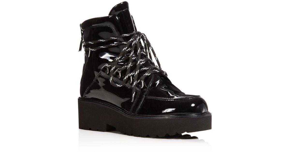 e86313682d2 Lyst - Stuart Weitzman Women s Belowdeck Patent Leather Platform Lace Up  Booties in Black