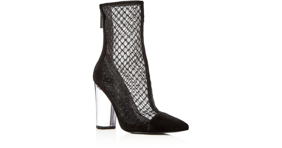 0c22b397f5 Kendall + Kylie Kendall And Kylie Women's Haven Embroidered Mesh & Suede  High Block Heel Booties in Black - Lyst