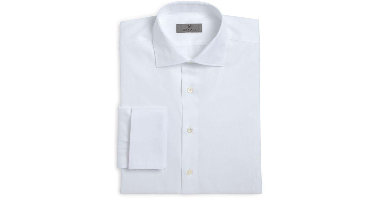 Lyst canali herringbone french cuff classic fit dress for White herringbone dress shirt