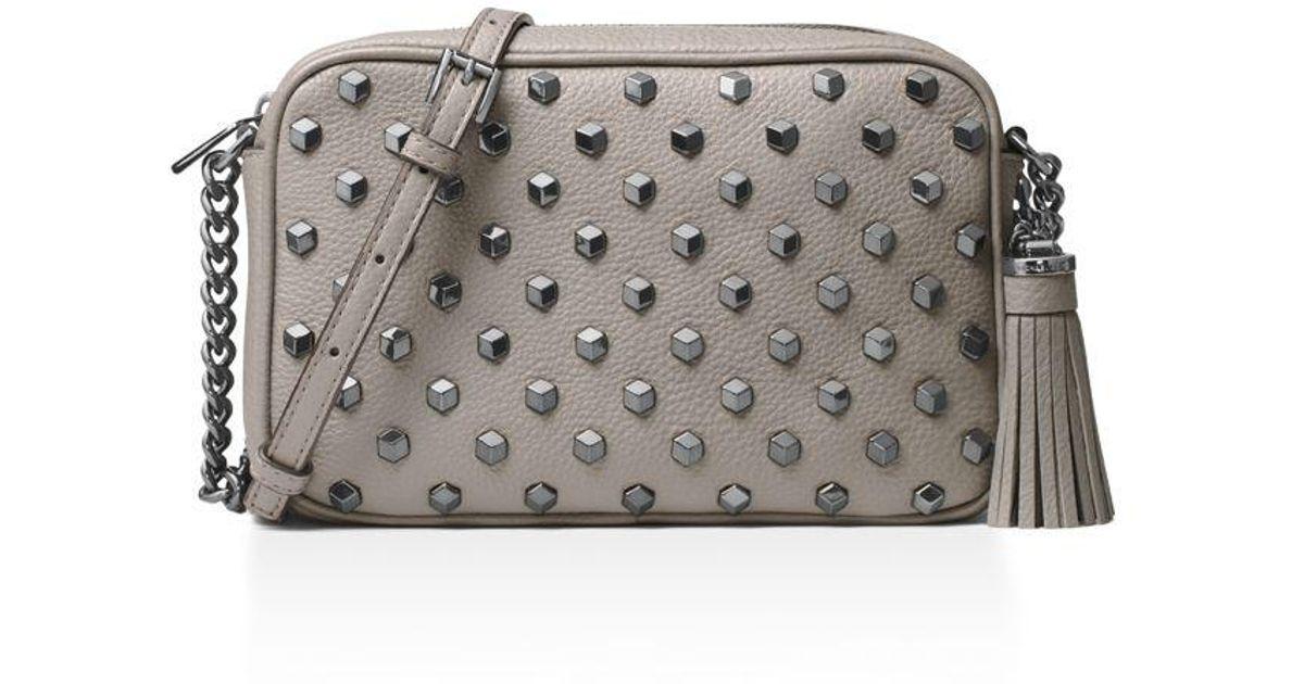 42f93579fd48 Michael Michael Kors Ginny Studded Medium Leather Camera Bag - Lyst