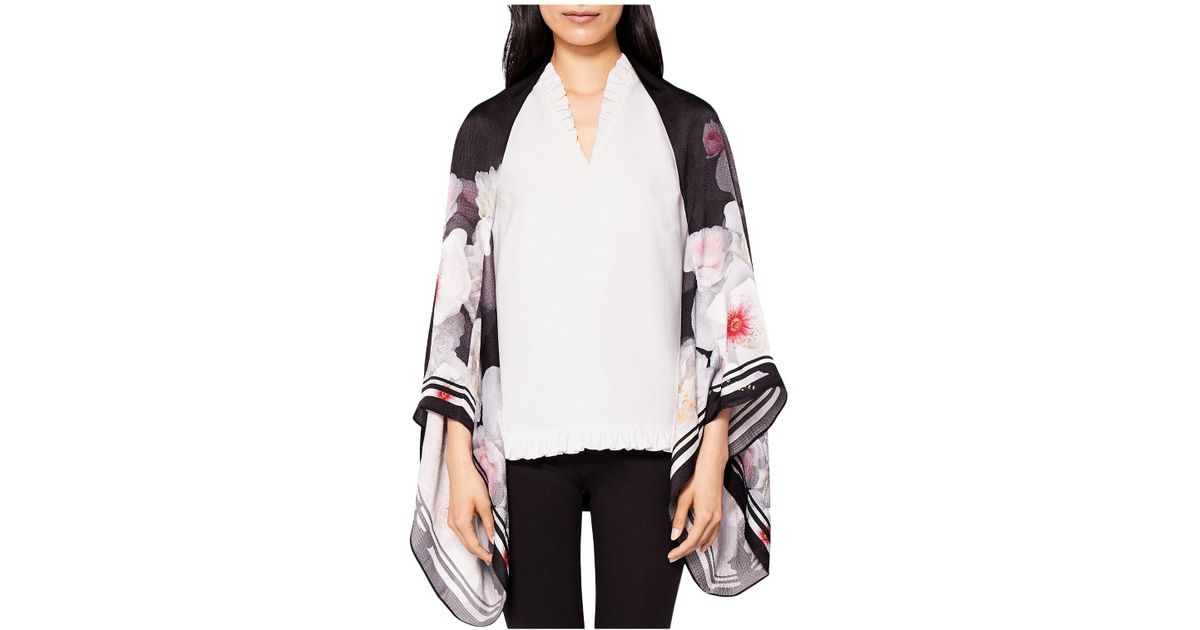 43e42ff6d3cf Lyst - Ted Baker Cindee Chelsea Print Silk Cape Scarf in Black