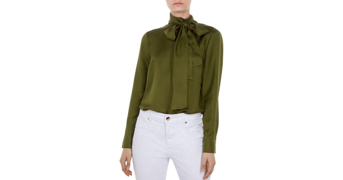 40e9afd71ebaa3 Lyst - Ted Baker Marther Tie-neck Silk Top in Green