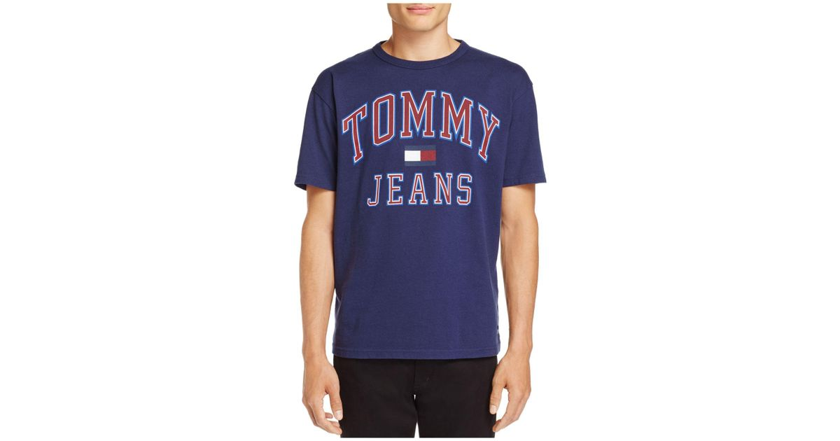 e1c20108 Lyst - Tommy Hilfiger Tommy Jeans 90's Logo Short Sleeve Tee in Blue for Men