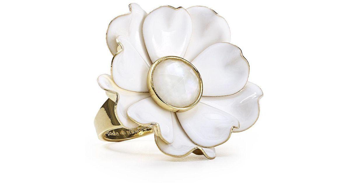 Lyst kate spade flower ring in white mightylinksfo