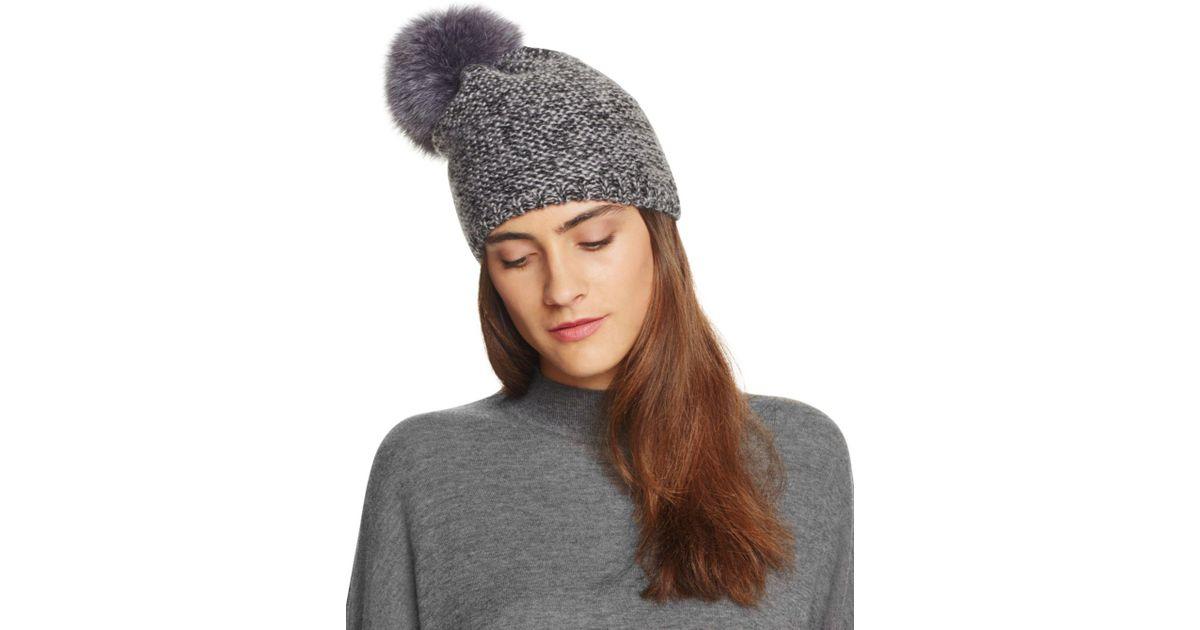 87694dd07e7 Lyst - Kyi Kyi Slouchy Hat With Fox Fur Pom-pom in Gray