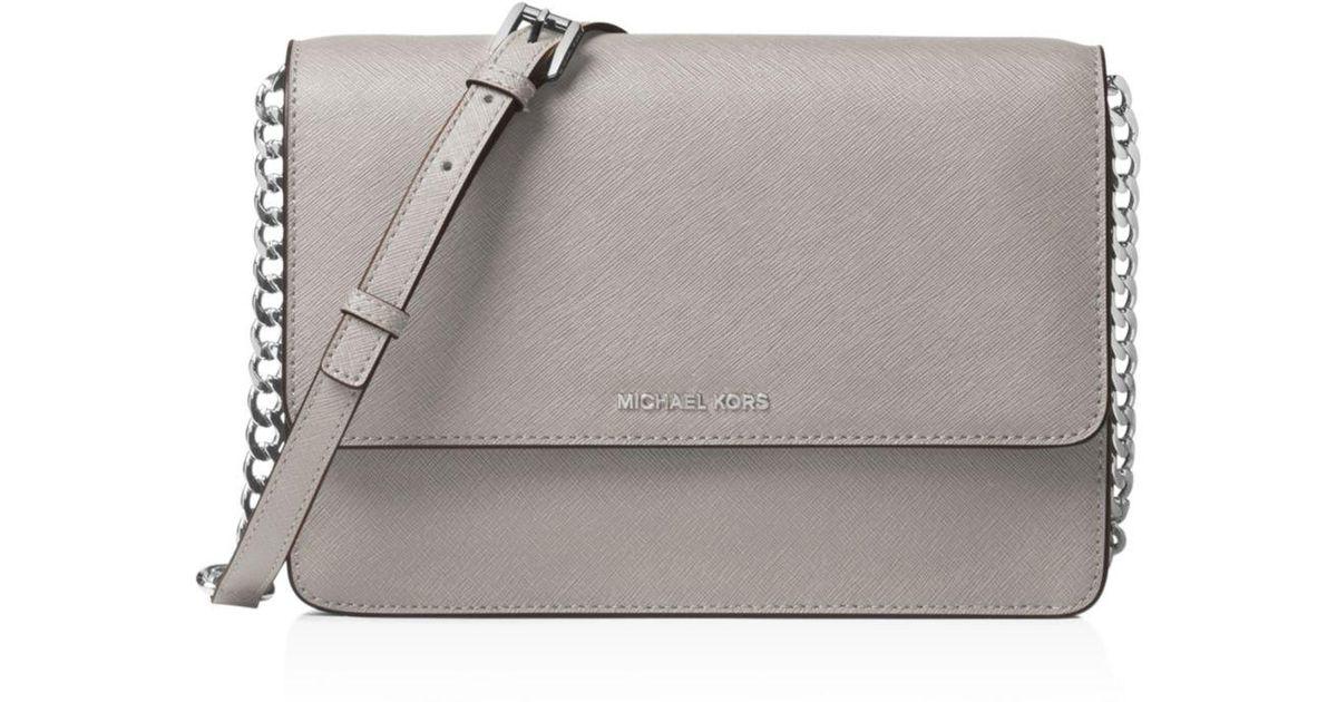 5e960c4293703b Michael Michael Kors Logo Large Leather Crossbody Bag in Gray - Save  28.395061728395063% - Lyst