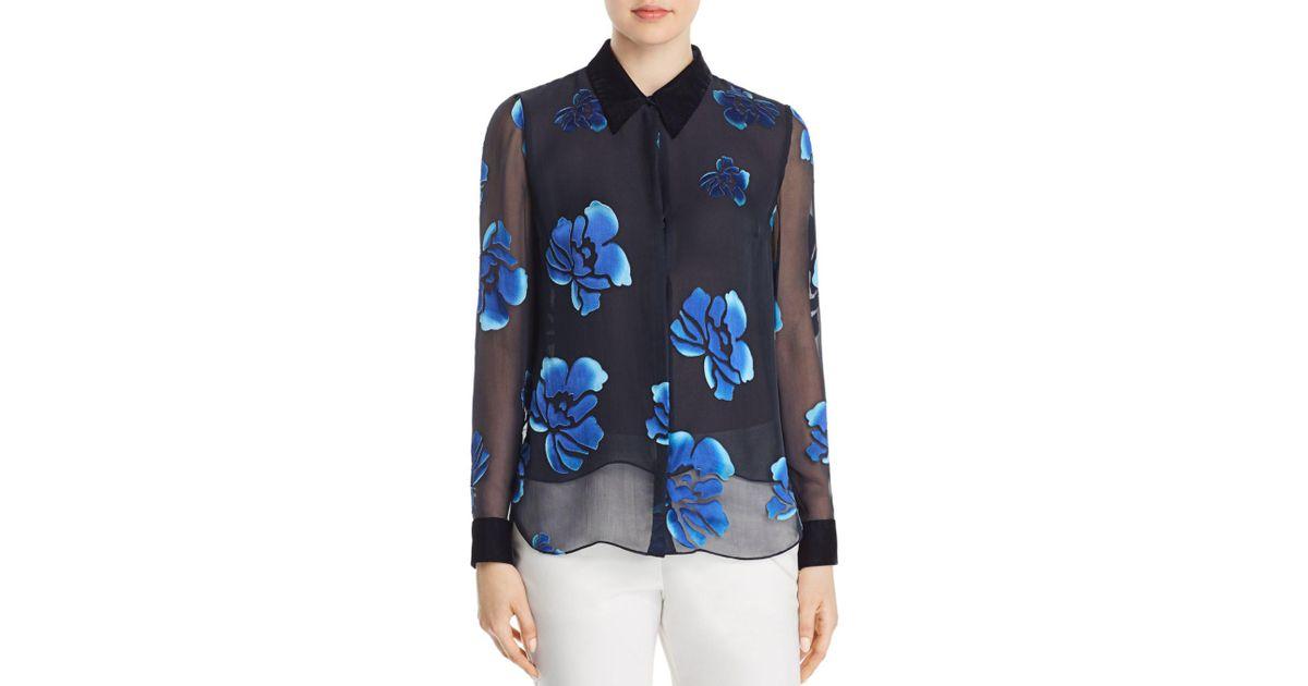 6e7d9601e08acf Lyst - Elie Tahari Martha Burnout Floral Blouse in Blue