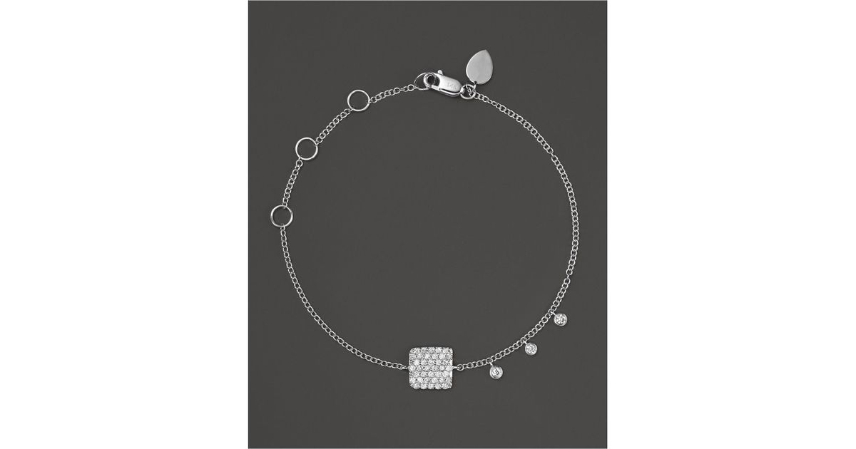 Meira t 14k White Gold Pavé Diamond Square Bracelet in White
