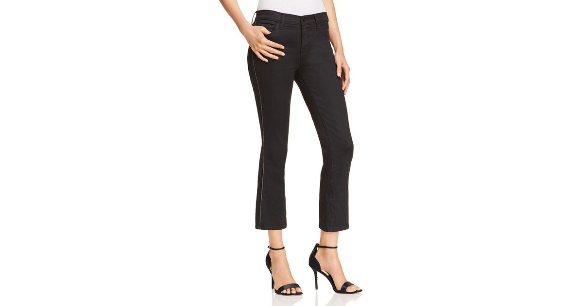 59a76999b99 J Brand Selena Mid Rise Coated Cropped Bootcut Jeans In Admiration in Black  - Lyst