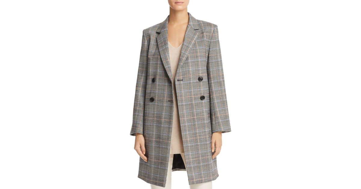 8b6f813b426 Theory Plaid Double-breasted Jacket in Gray - Lyst