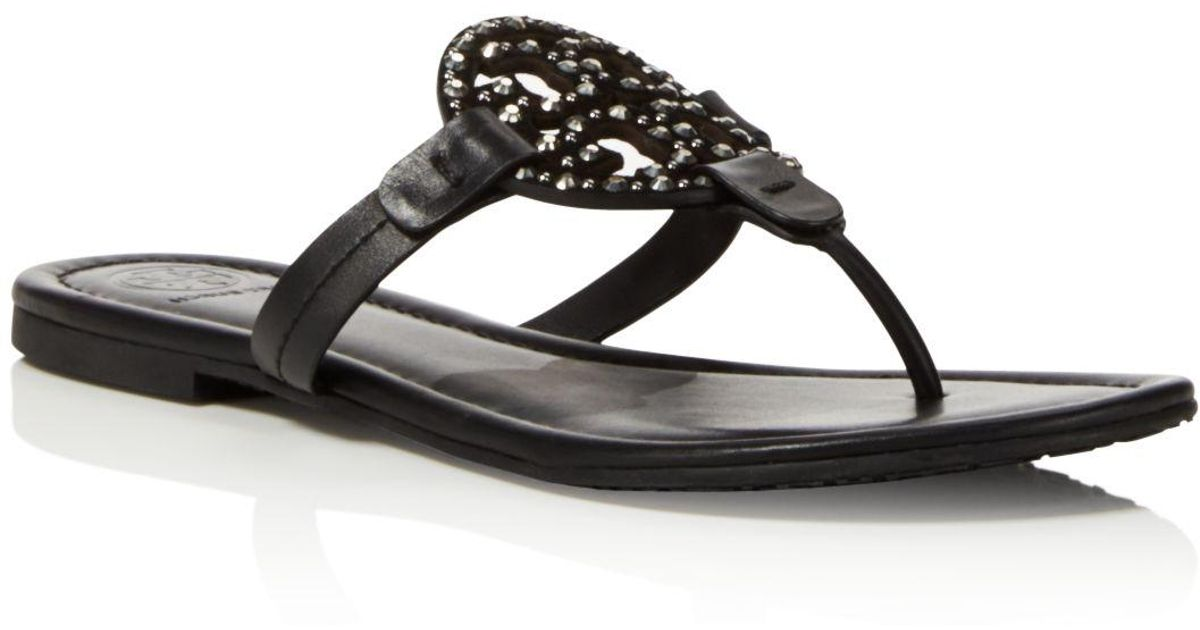 afe40bd06e3c Tory Burch Miller Embellished Thong Sandals in Black - Lyst