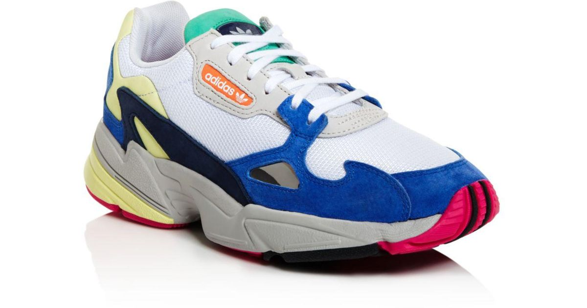 new style 01113 9bc84 adidas Women s Falcon Color-block Low-top Dad Sneakers in Blue - Lyst