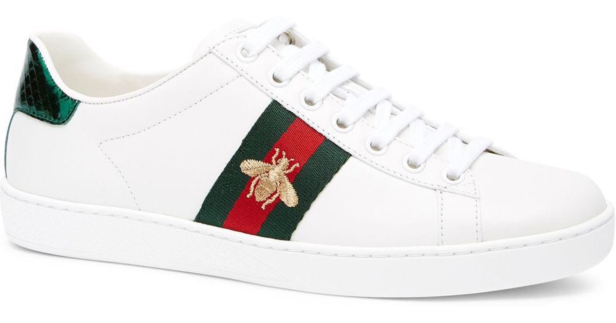 hot sale online 9f28e 539f4 Gucci Women s New Ace Leather Lace Up Sneakers in White - Lyst