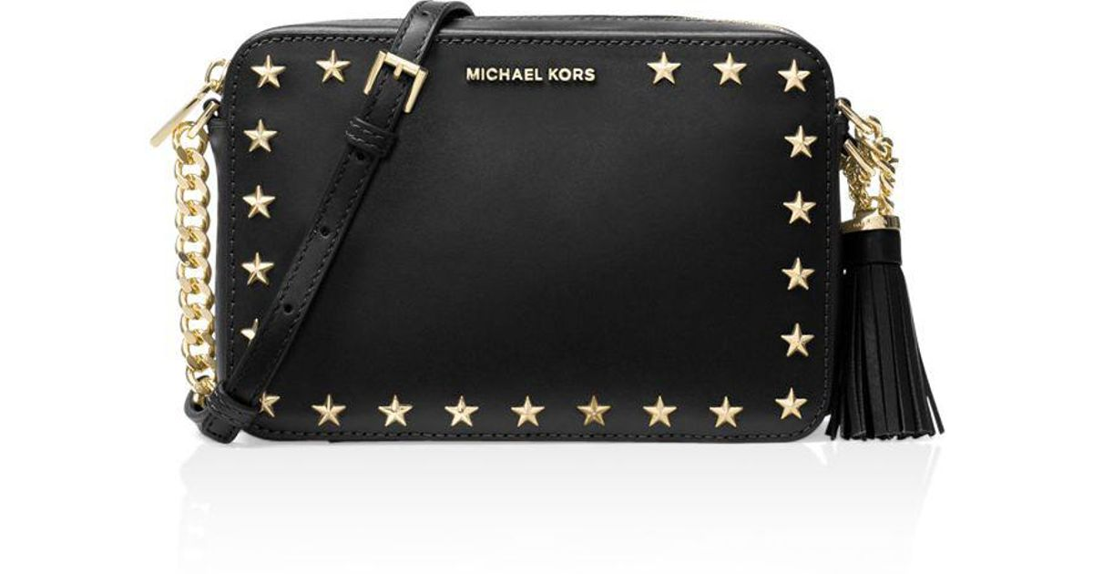 7309f3fa3914f7 MICHAEL Michael Kors Ginny Star Stud Medium Leather Camera Bag in Black -  Lyst