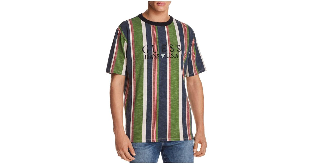 f9d0e8ec45 Guess 81 Sayer Stripe Short Sleeve Tee in Blue for Men - Lyst