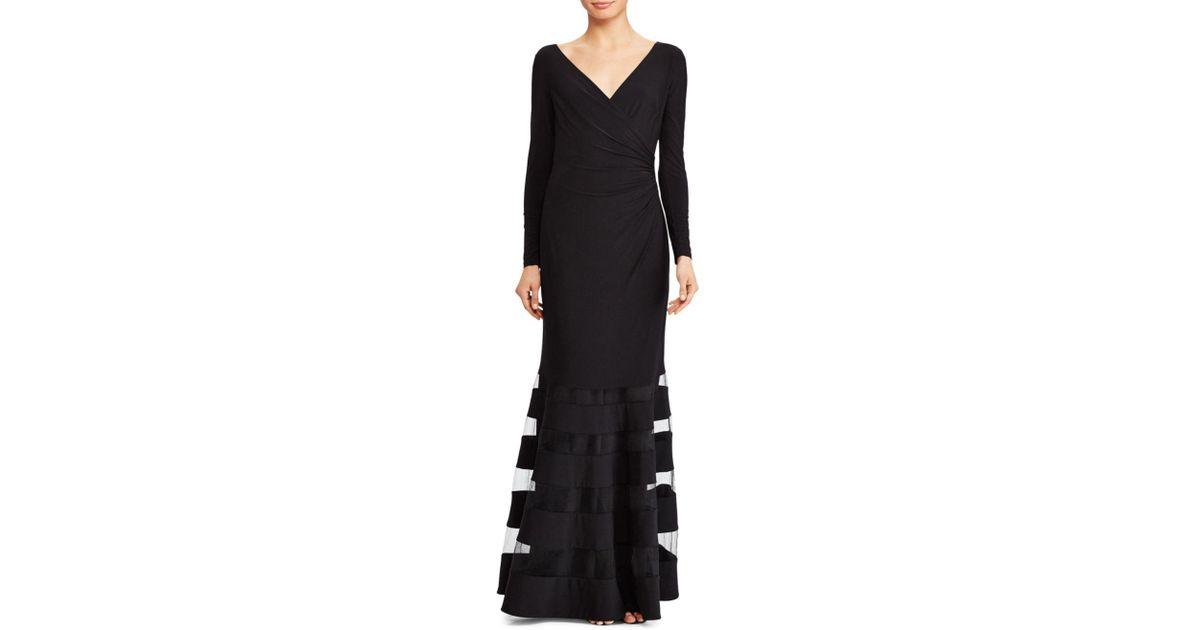 fd32388fd36 Ralph Lauren Lauren Tulle Inset Gown in Black - Lyst