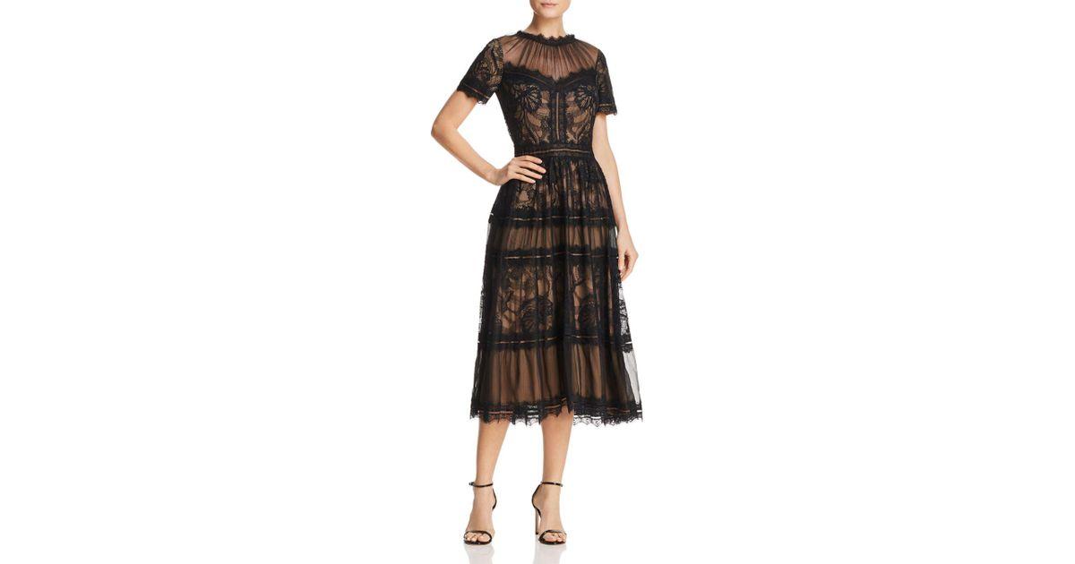 Tadashi Shoji Lace Midi Dress In Blacknude Black Lyst