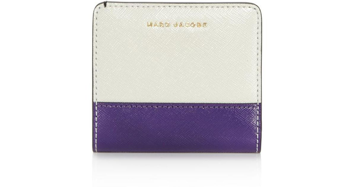 7aa92d994 Marc Jacobs Open Face Color Block Saffiano Leather Bifold Wallet - Lyst