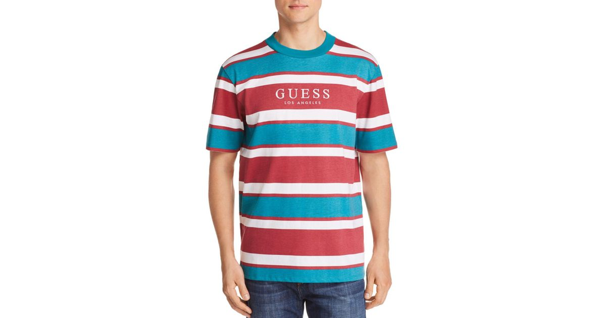 7ce3c8b028 Guess Peer Striped Tee in Red for Men - Lyst