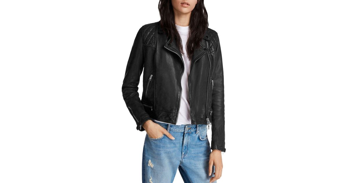 Allsaints Conroy Quilted Leather Biker Jacket In Black Lyst