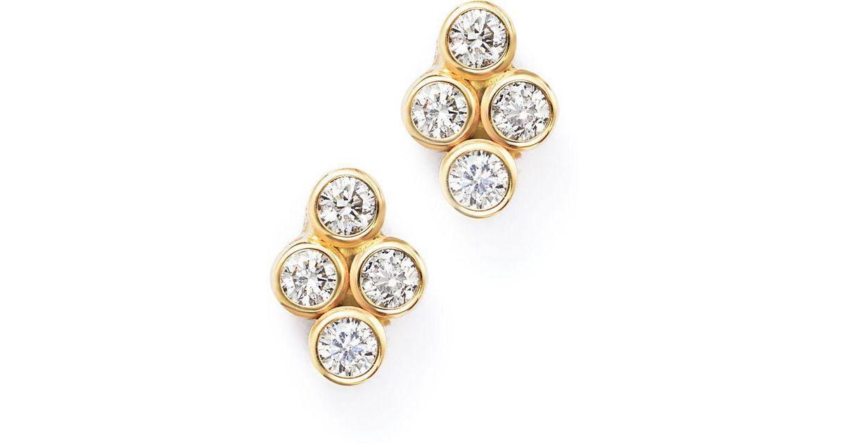 3b0a226d1 Zoe Chicco 14k Yellow Gold Quad Bezel Diamond Stud Earrings in Metallic -  Lyst
