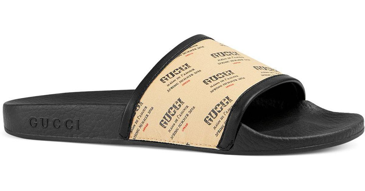 544439d90984 Lyst - Gucci Women s Pursuit Invite Stamp Pool Slide Sandals in Black for  Men