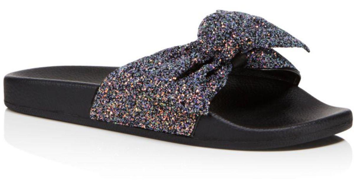 450669673872 Kate Spade Women's Shellie Glitter Pool Slide Sandals in Blue - Lyst