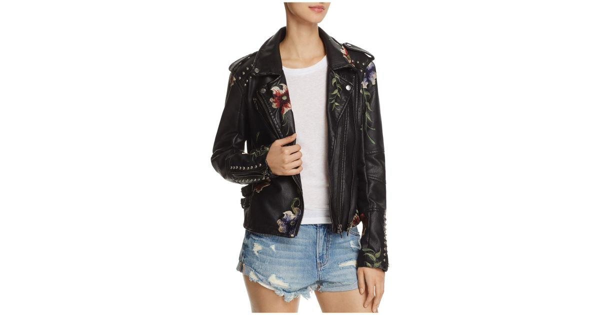 Lyst - Blank Nyc Floral Embroidered Studded Faux Leather Moto Jacket in  Black