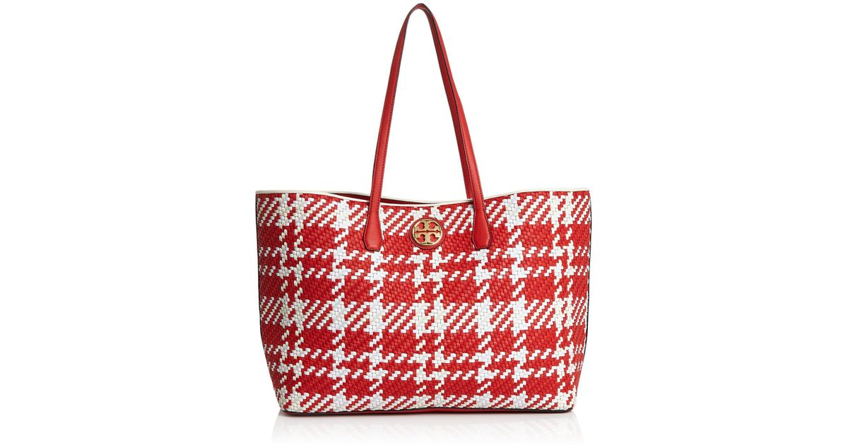 69f70f24151 Lyst - Tory Burch Duet Woven Leather Tote in Red